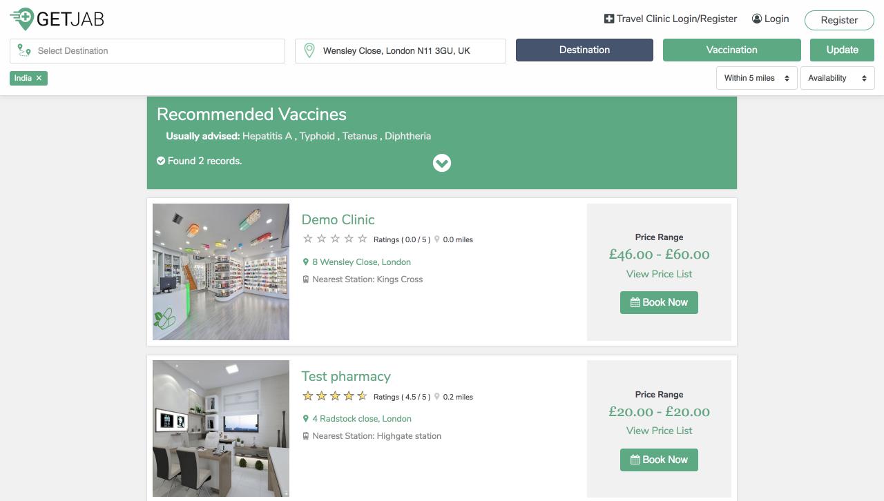 Getjab Online Travel Clinics Management System